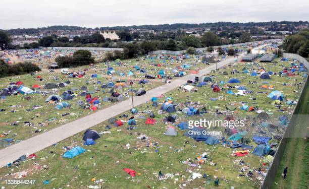 An aerial view of the abandoned tents and litter left on the site after the Reading Music Festival on August 30, 2021 in Reading, United Kingdom.