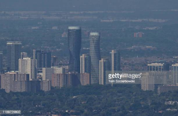 An aerial view of the Absolute World towers also known as Marilyn Monroe Towers in Mississauga on June 17, 2019 from Toronto, Canada. NOTE TO USER:...