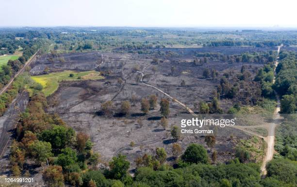An aerial view of the aftermath of a fire on Chobham Common on August 9 in Surrey, England. The fire started on August 7,2020 cancelling the Rose...