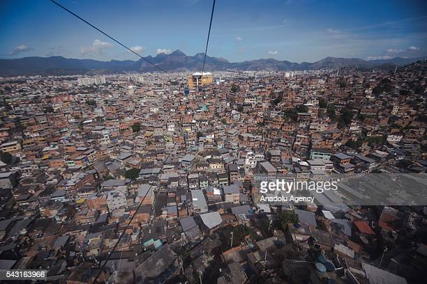 An aerial view of the Alemao Complex Morro do Alemao is seen in Rio de Janeiro Brazil on June 26 2016