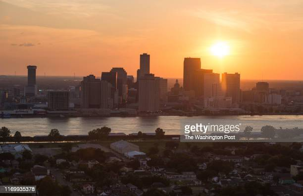 An aerial view of the Algiers neighborhood in the foreground with the downtown skyline on August 1, 2015 in New Orleans, La.
