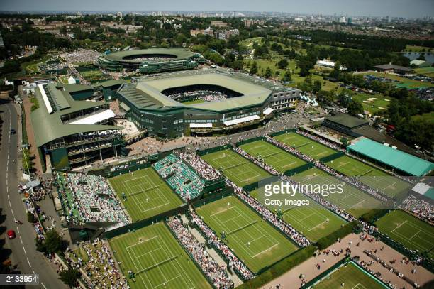 An aerial view of the All England Club taken during day two of the Wimbledon Lawn Tennis Championships held on June 24 2003 at the All England Lawn...