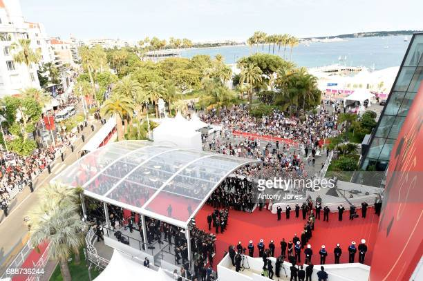 An aerial view of the 'Amant Double ' screening during the 70th annual Cannes Film Festival at Palais des Festivals on May 26 2017 in Cannes France