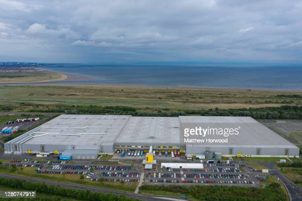 An aerial view of the Amazon fulfillment centre warehouse on June 3, 2020 in Swansea, Wales.