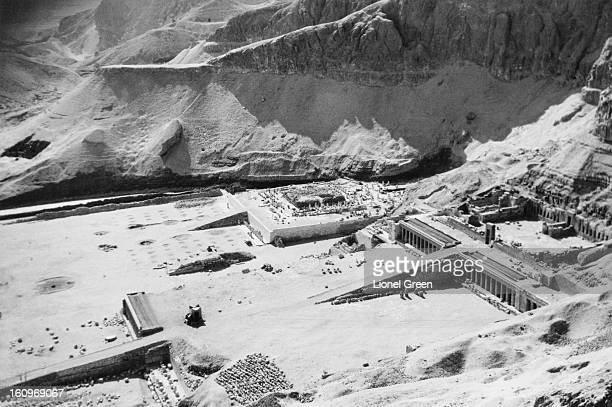 An aerial view of the ancient Egyptian mortuary temple of Queen Hatshepsut at Deir elBahari Egypt circa 1950 The temple is dedicated to the sun god...
