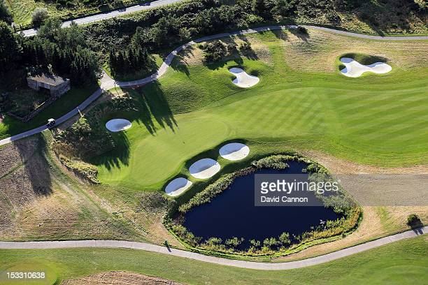 An aerial view of the approach to the green on the 516 yards, par 5, 2nd hole on the Centenary Course at Gleneagles Hotel venue for the 2014 Ryder...