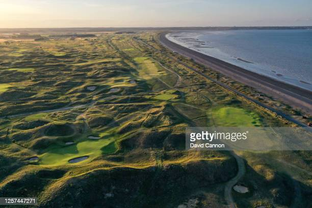 An aerial view of the approach to the green on the par 4, fifth hole with the par 3, sixth hole and par 5, seventh hole behind at the host venue for...