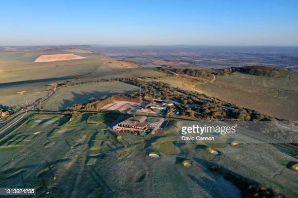An aerial view of the approach to the greens on the par 4, ninth hole and the par 4, 18th hole with the clubhouse at The Dyke Golf Club on April 15,...