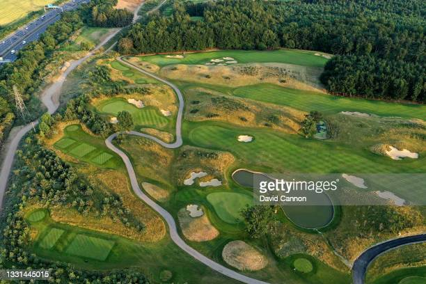 An aerial view of the approach to the greens on the par 5, 4th hole and the par 4, 16th hole with the par 3, 17th hole in the lower part of the image...