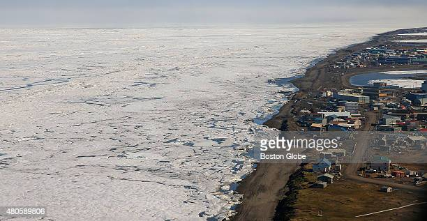 An aerial view of the arctic ice from above Barrow Alaska Officials have sought to protect Barrow which is fewer than 15 feet above sea level by...