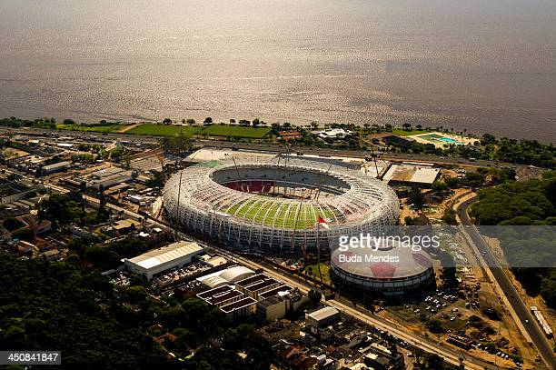 An aerial view of the Arena Beira Rio stadium, located the shores of the Guaiba Lake, under remodeling on November 19, 2013 in Porto Alegre, Brazil....