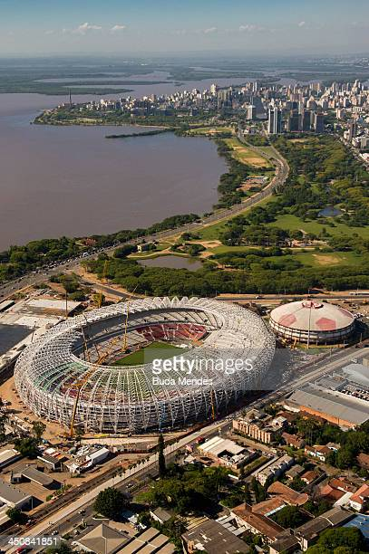 An aerial view of the Arena Beira Rio stadium located the shores of the Guaiba Lake under remodeling on November 19 2013 in Porto Alegre Brazil The...