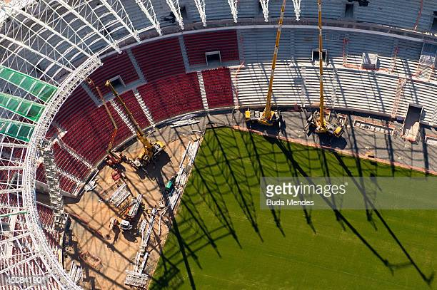 An aerial view of the Arena Beira Rio stadium under remodeling on November 19 2013 in Porto Alegre Brazil The Arena Beira Rio will be a stadium venue...