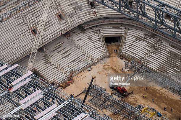 An aerial view of the Arena da Baixada stadium undergoing remodeling on November 22 2013 in Curitiba Brazil The Arena da Baixada will be a stadium...