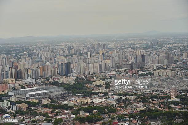 An aerial view of the Arena de Baixada stadium under construction in Curitiba Parana Brazil on December 14 2013 The Arena de Baixada will host...