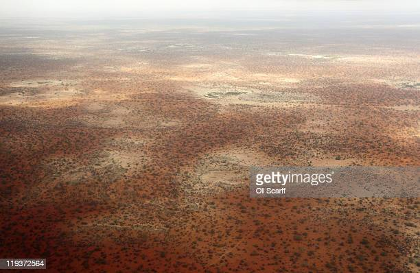 An aerial view of the arid terrain near the giant Dadaab refugee settlement on July 19, 2011 in Dadaab, Kenya. The refugee camp at Dadaab, located...