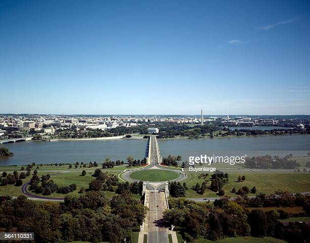 An aerial view of the Arlington Memorial Bridge across the Potomac River to the Lincoln Memorial and the National Mall Washington DC