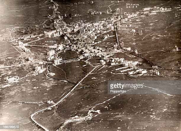 An aerial view of the Asiago Plateau in Italy scene of a major battle during World War One July 1918