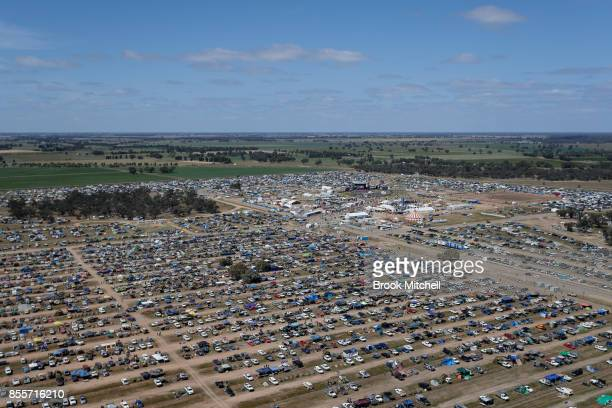 An aerial view of the at 2017 Deni Ute Muster site on September 30 2017 in Deniliquin Australia The annual Deniliquin Ute Muster is the largest ute...