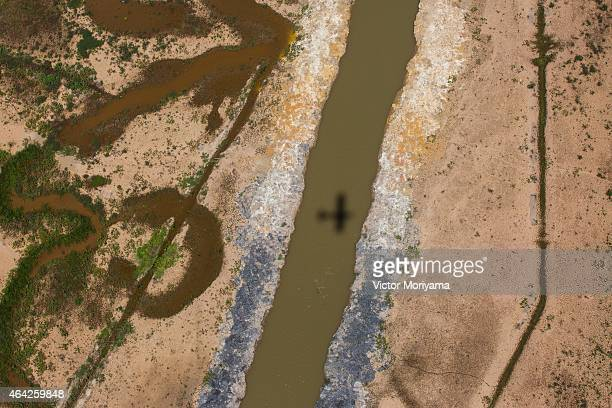 An aerial view of the Atibainha dam part of the Cantareira reservoir one of the main water reservoirs that supply the State of Sao Paulo during a...