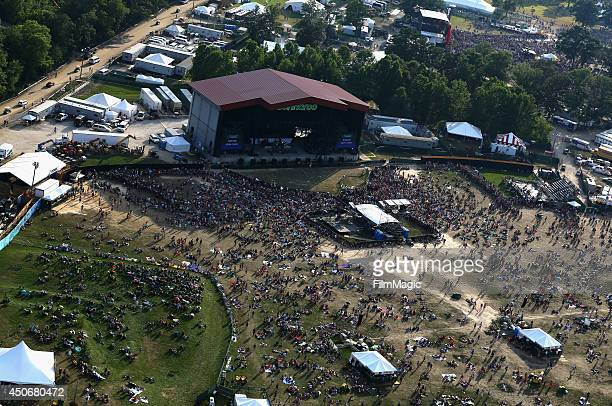 An aerial view of the atmosphere during day 4 of the 2014 Bonnaroo Arts And Music Festival on June 15 2014 in Manchester Tennessee