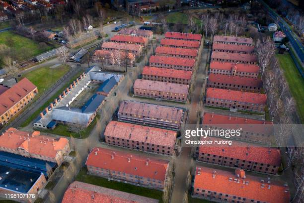 An aerial view of the Auschwitz I extermination camp on December 20, 2019 in Oswiecim, Poland. Ceremonies marking the 75th anniversary of the...