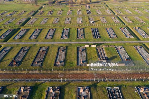 An aerial view of the Auschwitz II-Birkenau extermination camp on December 19, 2019 in Oswiecim, Poland. Ceremonies marking the 75th anniversary of...