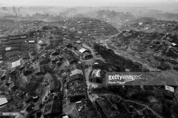 COX'S BAZAR BANGLADESH OCTOBER 02 An aerial view of the Balukhali Rohingya Refugee Camp is seen on October 2 2017 in Cox's Bazar Bangladesh More than...