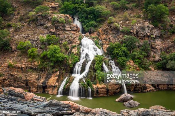 an aerial view of the beautiful chunchi falls, karnataka, india - karnataka stock pictures, royalty-free photos & images
