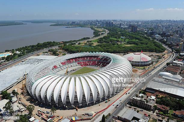 An aerial view of the Beira Rio stadium venue for the FIFA 2014 World Cup Brazil on December 15 2013 in Porto Alegre Brazil