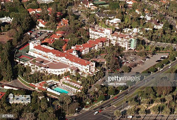 An aerial view of The Beverly Hills Hotel is pictured January 11 2001 in Beverly Hills CA