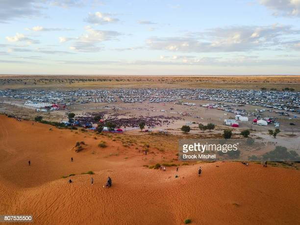 An aerial view of The Birdsville Big Red Bash 2017 on July 4 2017 in Birdsville Australia