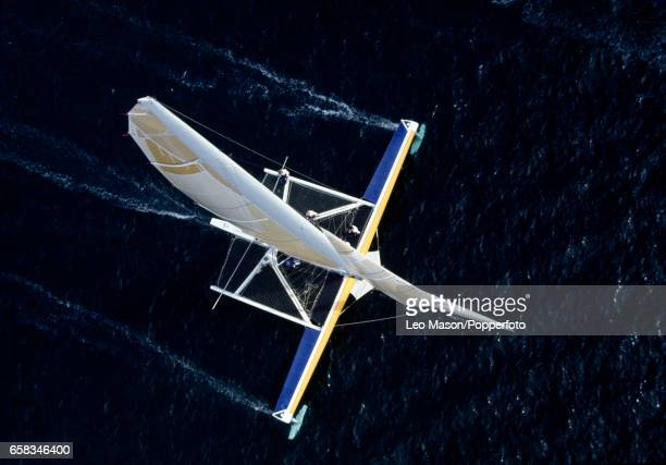 An aerial view of the Blue Arrow 'Radical' the innovative hydrofoil glider of Peter de Savary off the coast of Falmouth circa 1989