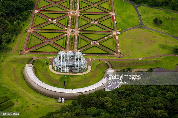 An aerial view of the Botanical Garden also known as the 'Jardim Botanico Fanchette Rischbieter' a major tourist attraction and landmark of the city...