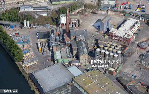 KINGDOM MARCH 2018 An aerial view of the Brains Brewery located on the eastern bank of the River Taff and just south of Cardiff Central Rail Termius...