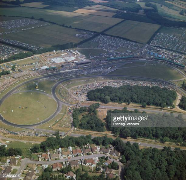 An aerial view of the Brands Hatch racing circuit in Kent, UK, during the 1970 British Grand Prix, July 1970.