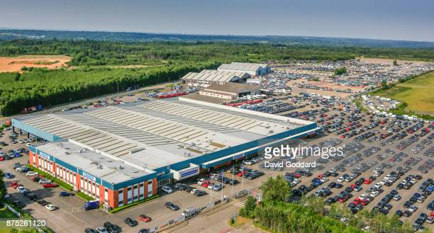 An aerial view of the British Car Auctions site at Blackbushe on June 20 2017 in England
