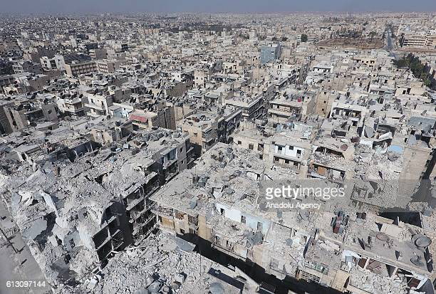 An aerial view of the buildings destroyed by the Assad Regime forces and Russian Army in the Tariq alBab neighborhood of Aleppo Syria on October 2016