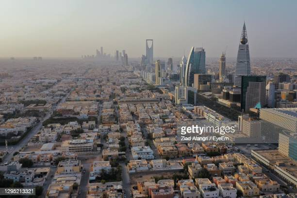 an aerial view of the buildings in riyadh - riyadh stock pictures, royalty-free photos & images