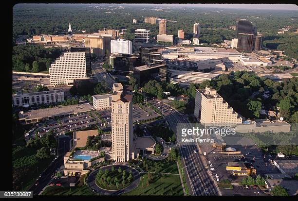 An aerial view of the buildings of Buckhead a district of Atlanta Georgia   Location Buckhead District Atlanta Georgia USA