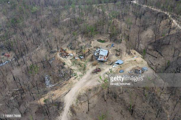 An aerial view of the burnt out property of Phillip Hine is seen on January 14 2020 in Wytaliba Australia Phillip narrowly escaped the inferno when...