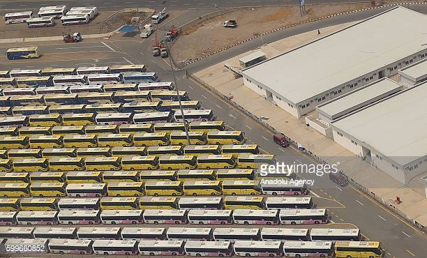 An aerial view of the buses used to bring people to the hajj as prospect pilgrims continue flooding onto sacred soil for the 2016 Hajj in Mecca Saudi...