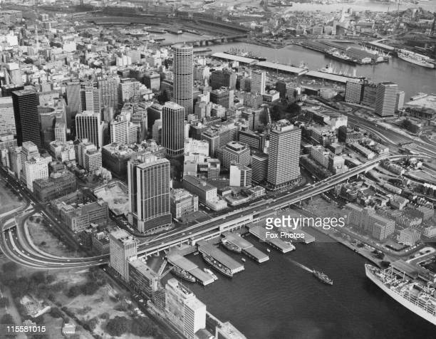An aerial view of the Cahill Expressway in the Circular Quay district of Sydney Australia January 1972