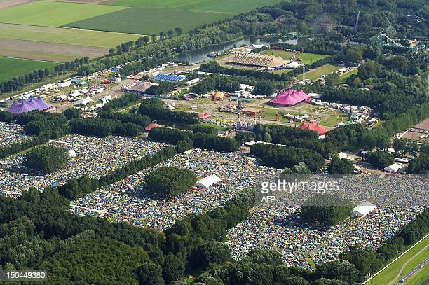 An aerial view of the camping and festival site at the annual Lowlands music festival event in Biddinghuizen the Netherlands on August 18 2012 The...