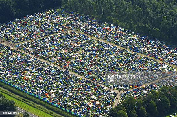 An aerial view of the camping site at the annual Lowlands music festival event in Biddinghuizen the Netherlands on August 18 2012 The festival...