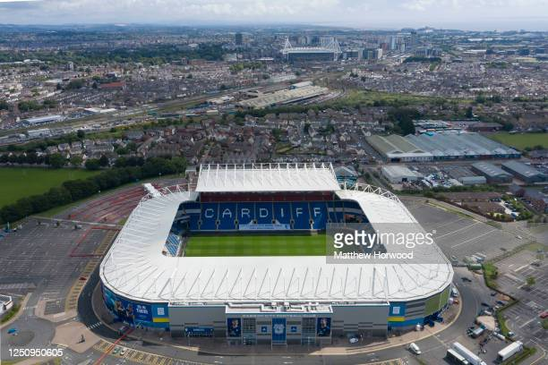 """An aerial view of the Cardiff City stadium with a message in the stands saying """"City loves you more than you will know"""" ahead of the Cardiff City v..."""
