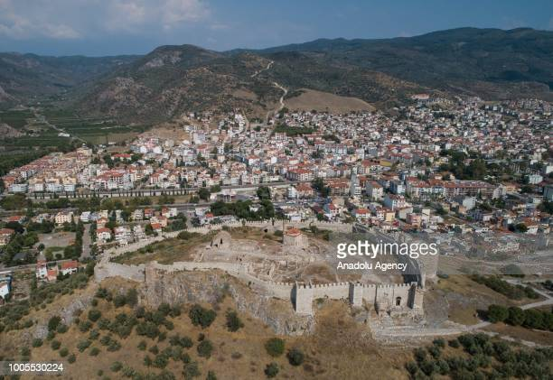 An aerial view of the Castle And Monument of Saint John near the center of Selcuk district of Izmir Turkey on July 25 2018 The Basilica of St John...