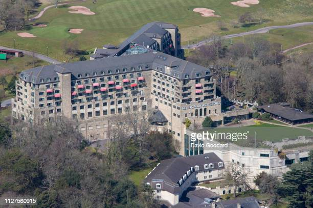 KINGDOM MARCH 2018 An aerial view of the Celtic Manor Resort on March 25th 2018 this golf spa and leisure hotel is located in the Coldra Woods area 3...