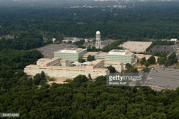 An aerial view of the Central Intelligence Agency in Langley Virginia