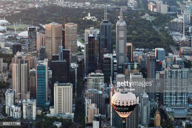 An aerial view of the Chadstone Shopping Centre hot air balloon flying above the Melbourne city skyline on February 13, 2018 in Melbourne, Australia.